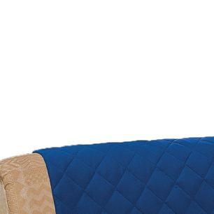 Protetor De Sofá Microfibra Matelado Retrátil Reclinável Com Assento De 1,80M - Azul