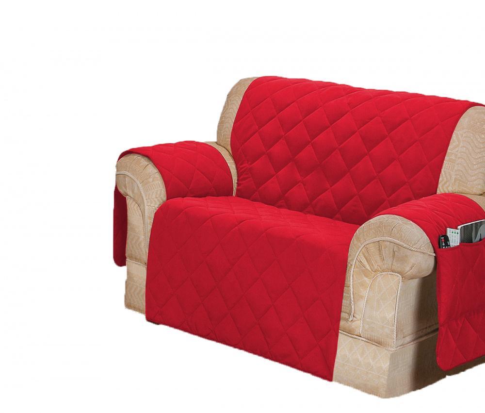 Protetor Para Sofá De 02 Lugares Com Assento De 90CM Microfibra Matelado - Vermelho