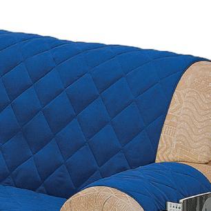 Protetor Para Sofá De 02 Lugares Com Assento De 1,10M Microfibra Matelado - Azul