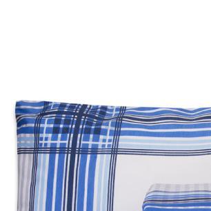 Jogo de Cama Casal Queen Estampado Percal 140 fios 03 peças Premium - Xadrez Azul