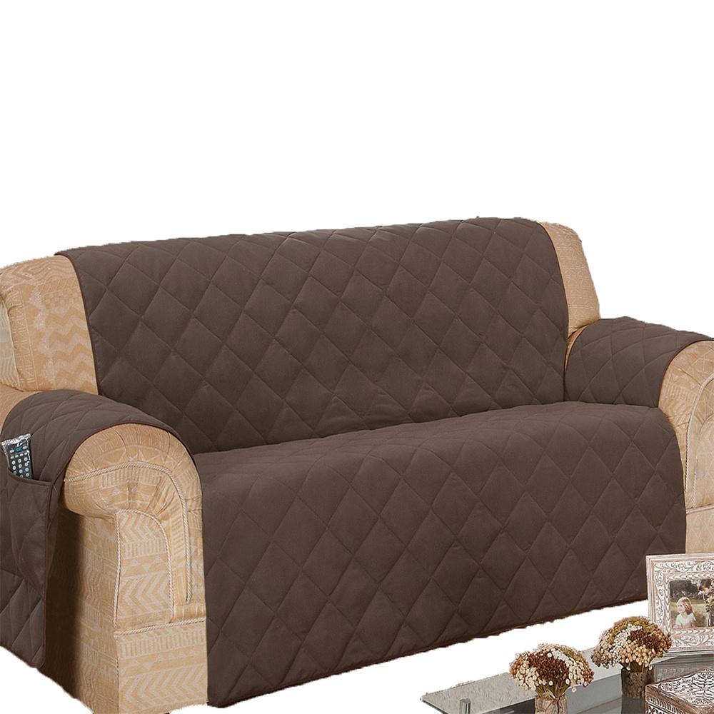 Protetor Para Sofá De 03 Lugares Com Assento De 1,40M Microfibra Matelado - Tabaco