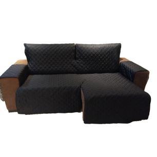 Protetor Para Sofá De 2 Módulos Microfibra Matelado Retrátil Reclinável com Assento De 2,50M - Preto
