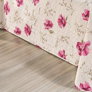 Kit Cobre Leito Matelado Estampado Casal King 3 Peças Tecido Misto Percal 180 Fios Requinte - Floral Rosê