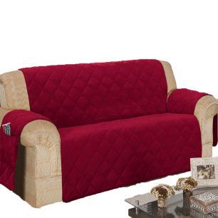 Protetor Para Sofá De 03 Lugares Com Assento De 1,60M Microfibra Matelado - Vinho