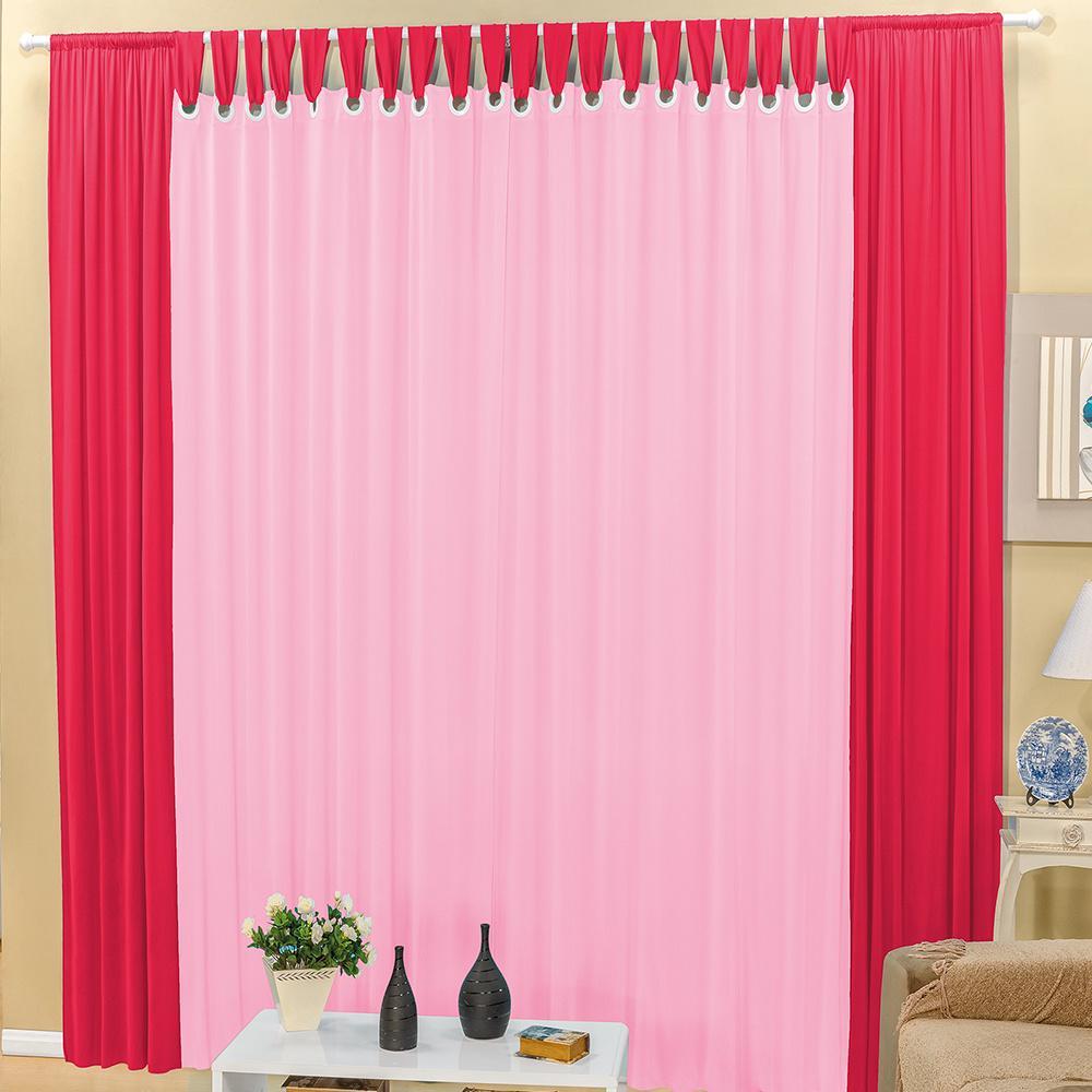 Cortina Com Passador E Ilhós Cláudia Em Malha Gel 4,00M x 2,60M Para Varão Simples - Pink com Rosa