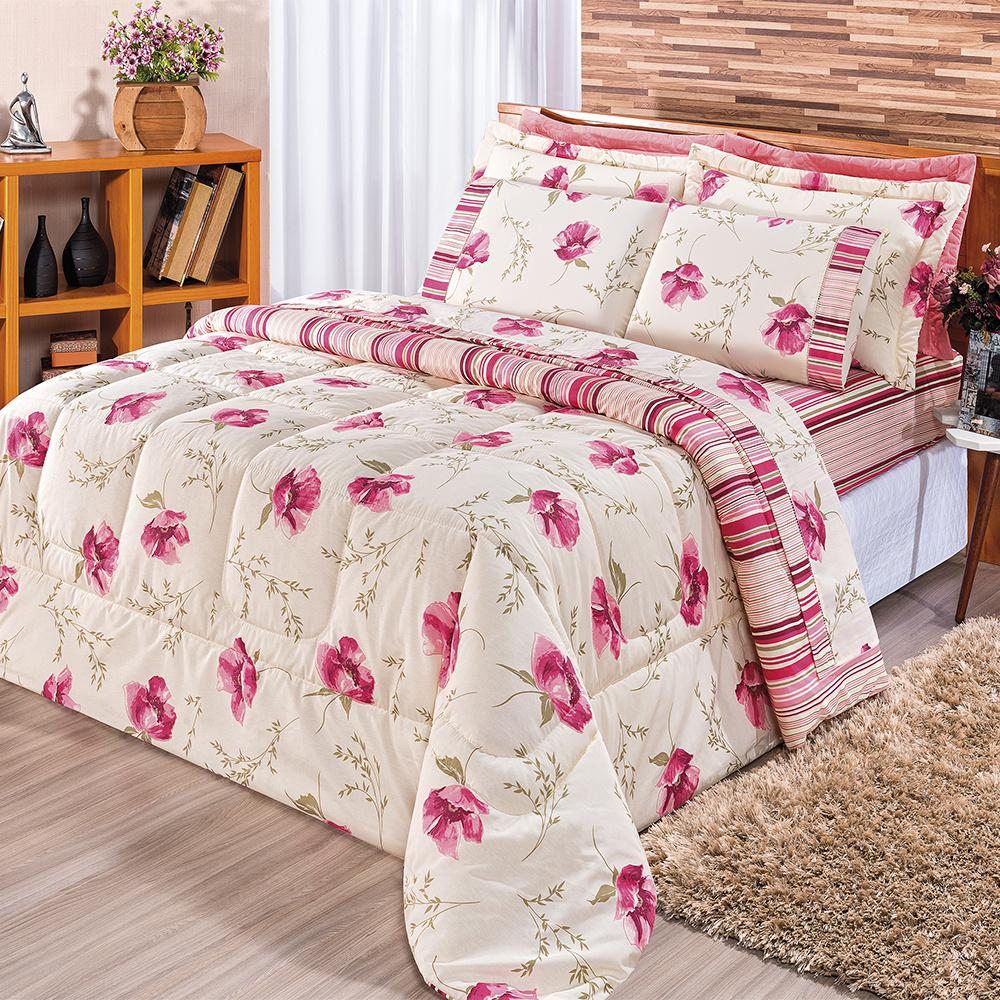 Kit Edredom Dupla Face Estampado Casal Padrão 03 Peças Tecido Misto Percal 180 Fios Requinte - Floral Rosê