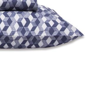 Jogo de Cama Casal Queen Estampado Percal 140 fios 03 peças Premium - Azul Serenity