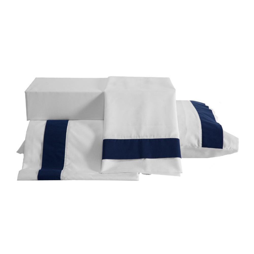 Jogo De Cama Casal King Tecido Misto Percal 180 Fios Kit 04 Peças Portinari - Azul Marinho