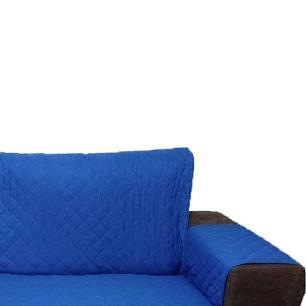 Protetor Para Sofá De 2 Módulos Microfibra Matelado Retrátil Reclinável Com Assento De 1,90M - Azul
