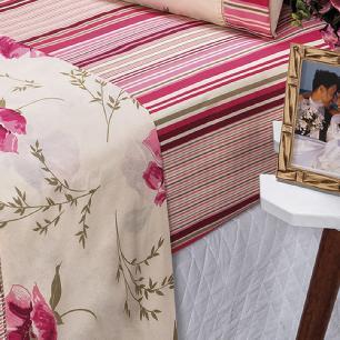 Jogo De Cama Ponto Palito Estampado Casal Padrão 4 Peças Tecido Misto Percal 180 Fios Requinte - Floral Rosê