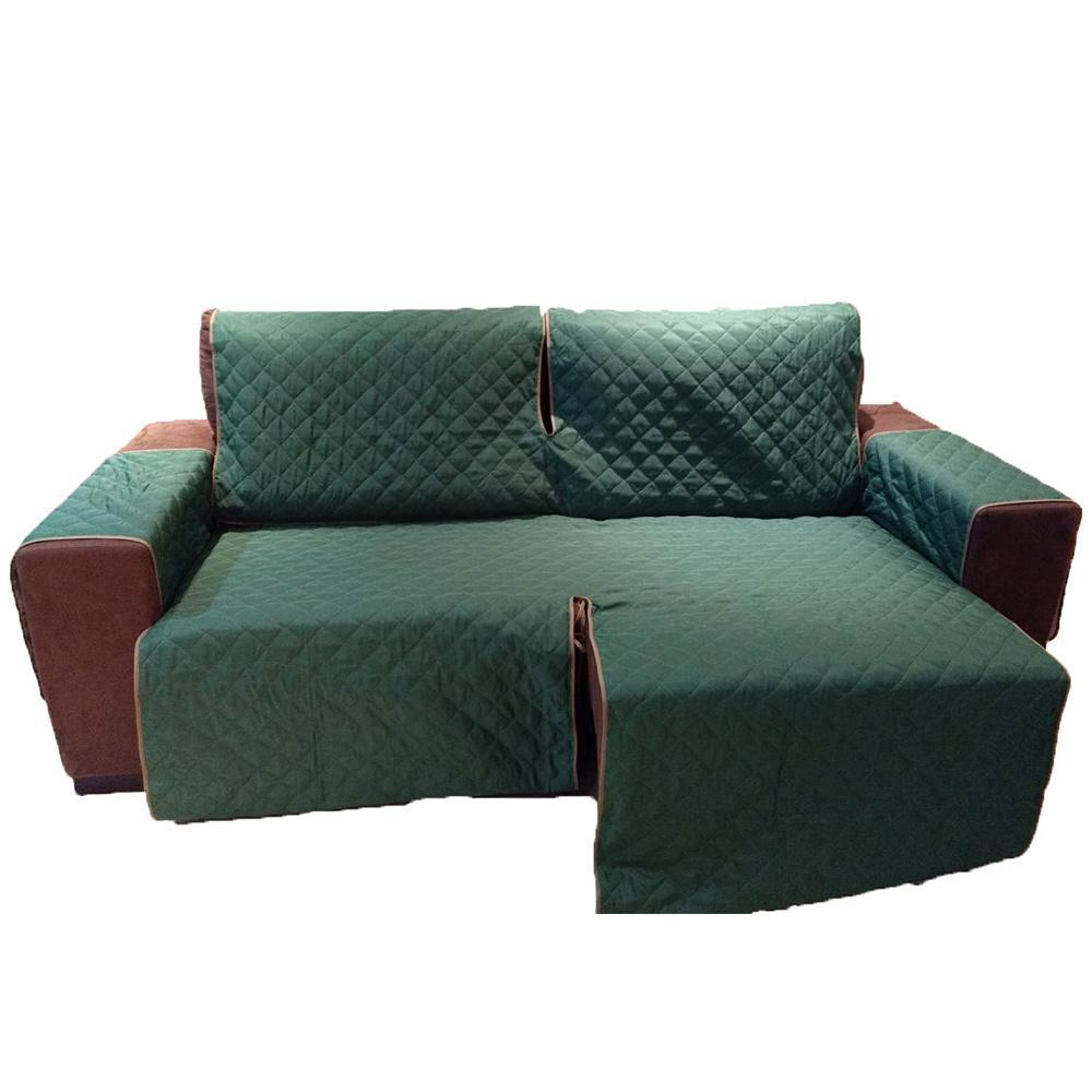 Protetor Para Sofá De 2 Módulos Microfibra Matelado Retrátil Reclinável Com Assento De 2,30M - Verde Musgo