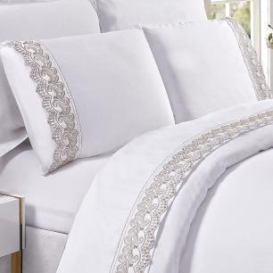 Jogo De Cama Bordado Tecido 100% Algodão 300 Fios Acetinado King 04 Peças Supreme - Diamond Branco