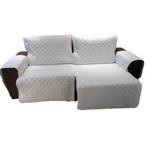 Protetor Para Sofá De 2 Módulos Microfibra Matelado Retrátil Reclinável Com Assento De 2,40M - Palha