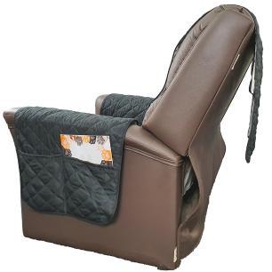 Protetor De Sofá Microfibra Matelado Para Poltrona Com Assento De 70CM - Preto