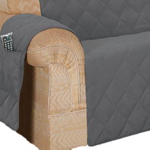 Protetor De Sofá Microfibra Matelado Retrátil Reclinável Com Assento De 1,50M - Chumbo