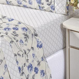 Jogo De Cama Ponto Palito Estampado Casal King 4 Peças Tecido Misto Percal 180 Fios Requinte - Floral Azul