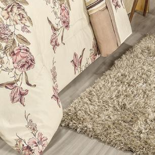 Kit Edredom Dupla Face Estampado Casal Queen 03 Peças Tecido Misto Percal 180 Fios Requinte - Floral Palha