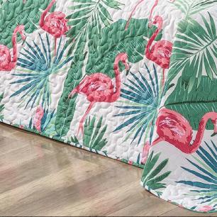Kit Cobre Leito Matelado Estampado Casal Queen 3 Peças Micropercal 200 Fios Naturale - Flamingo