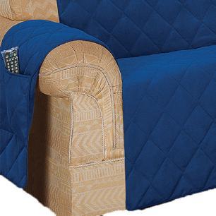 Protetor De Sofá Microfibra Matelado Retrátil Reclinável Com Assento De 1,60M - Azul