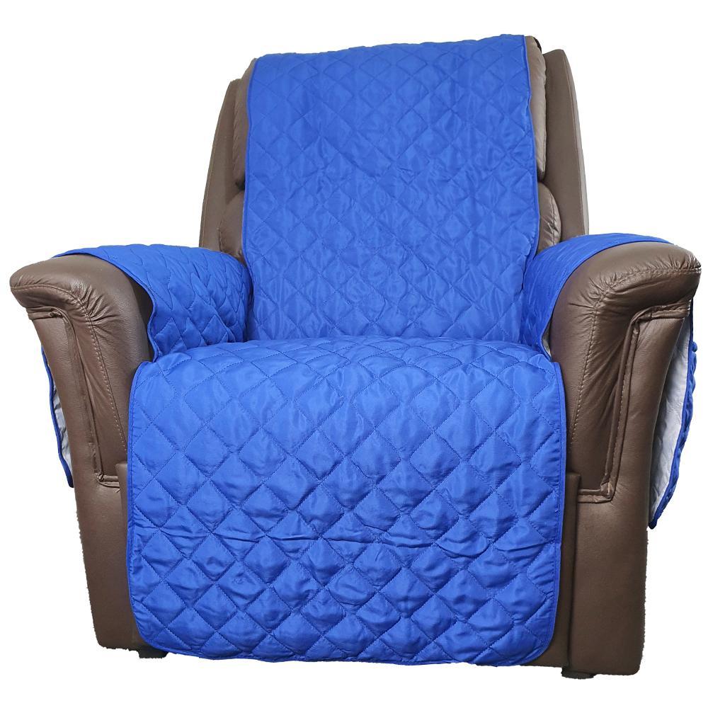 Protetor De Sofá Microfibra Matelado Para Poltrona Com Assento De 70CM - Azul