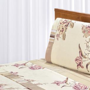 Jogo De Cama Ponto Palito Estampado Casal Queen 4 Peças Tecido Misto Percal 180 Fios Requinte - Floral Palha
