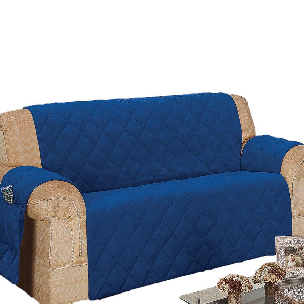 Protetor De Sofá Microfibra Matelado Retrátil Reclinável Com Assento De 2,10M - Azul
