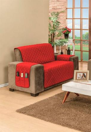 Protetor Para Sofá De 02 Lugares Com Assento de 1,10M Matelado Dupla Face Manu - Vermelho com Preto