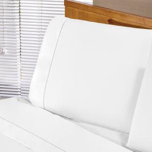 Jogo De Cama Com Ponto Palito Casal Queen 04 Peças Tecido Misto Percal 180 Fios Elegance - Branco