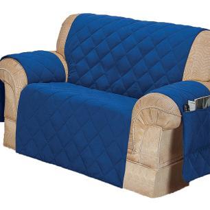 Protetor Para Sofá De 02 Lugares Com Assento De 1,00M Microfibra Matelado - Azul