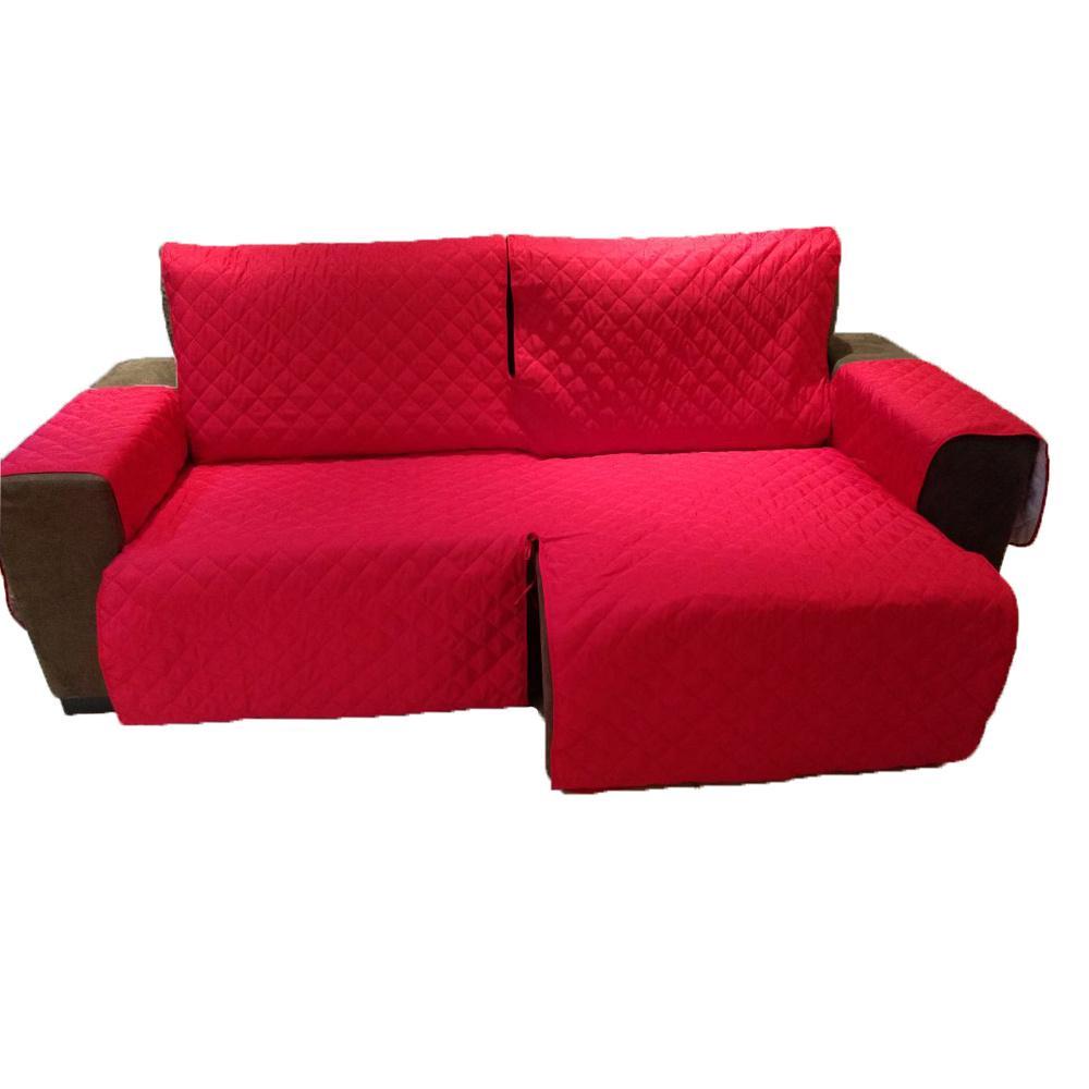 Protetor Para Sofá De 2 Módulos Microfibra Matelado Retrátil Reclinável com Assento De 2,40M - Vermelho