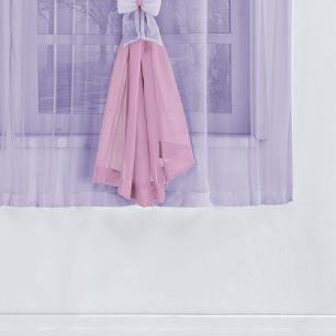 Cortina Vitória Tecido Voal 4,00M x 2,80M Para Varão Simples - Lilás / Rosa