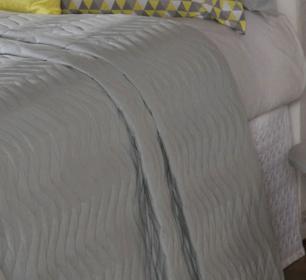 Cobre Leito Casal Padrão Matelado Ultrassônico Tecido Microfibra Kit 07 Peças Chevron - Cinza
