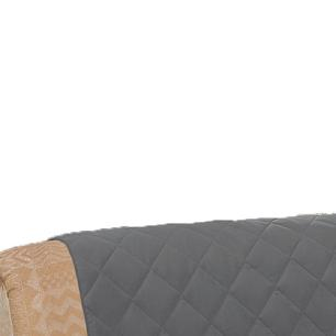 Protetor De Sofá Microfibra Matelado Retrátil Reclinável Com Assento De 2,10M - Chumbo