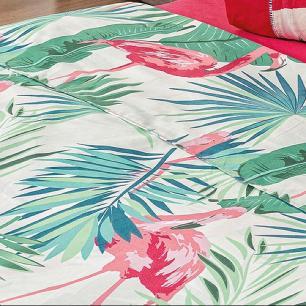 Jogo De Cama Solteiro 03 Peças Micropercal 200 Fios Naturale - Flamingo