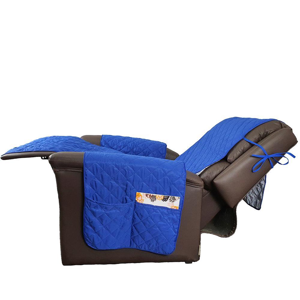 Protetor De Sofá Microfibra Matelado Para Poltrona Retrátil Reclinável Com Assento De 55CM - Azul