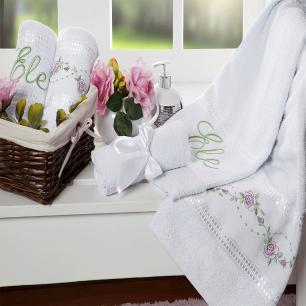 Jogo De Cama Casal Queen Tecido Misto Kit 04 Peças Bouquet - Branco