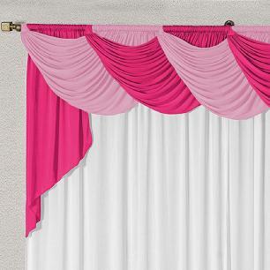 Cortina Com Bandô Jennifer Em Malha Gel 4,00M x 2,60M Para Varão Duplo - Pink/Rosa/Branco