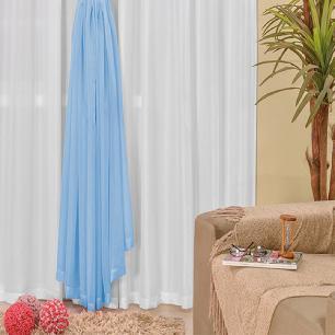 Cortina Com Ilhós Microfibra Com Voil Lucia 3,00M x 2,80M Para Varão Simples - Azul Com Branco