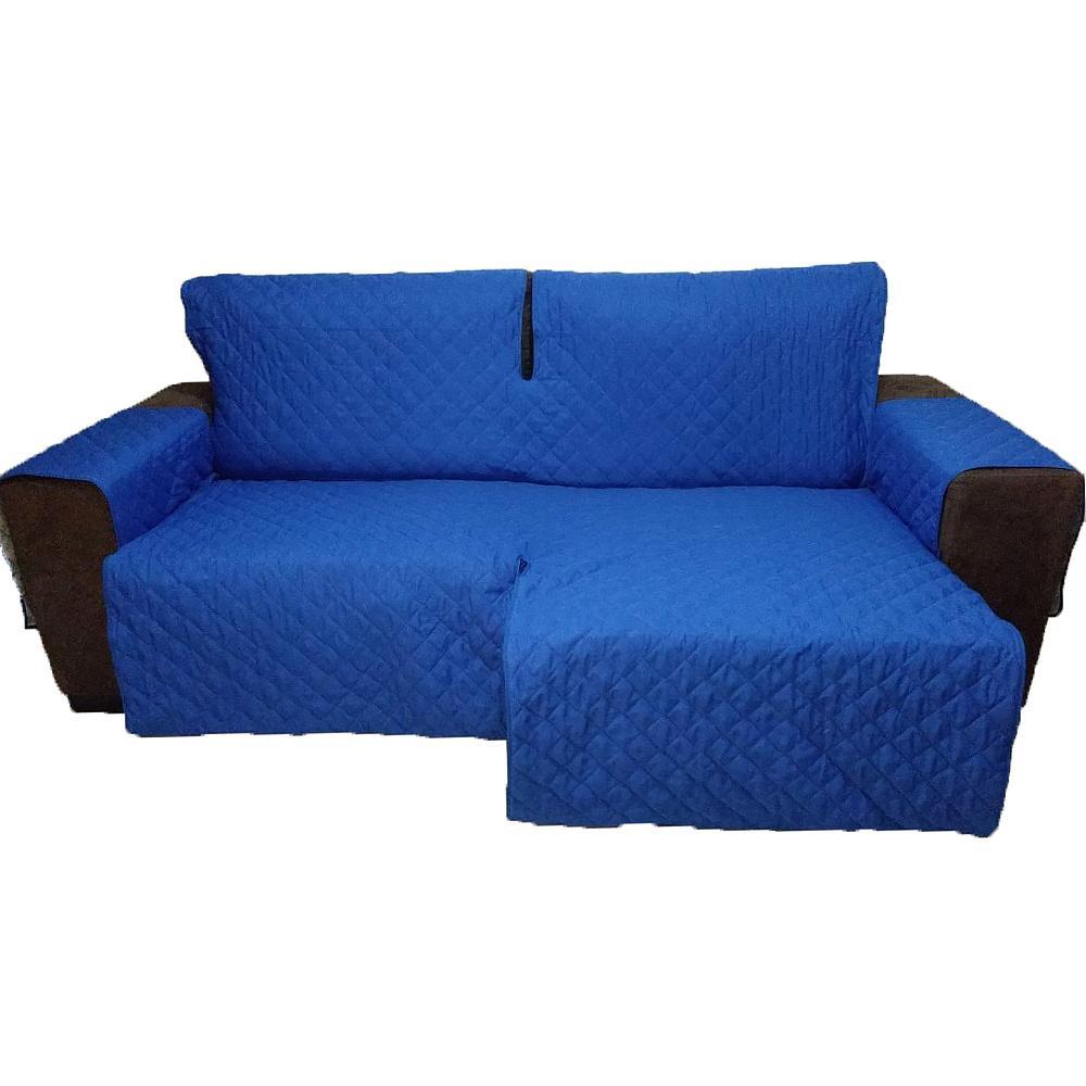 Protetor Para Sofá De 2 Módulos Microfibra Matelado Retrátil Reclinável Com Assento De 1,50M - Azul