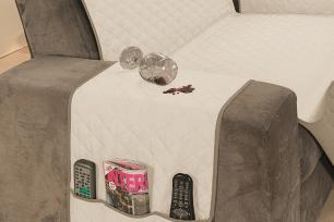 Protetor Impermeável Para Sofá De 02 Lugares Com Assento de 1,10M Dupla Face Manu - Cáqui Com Palha