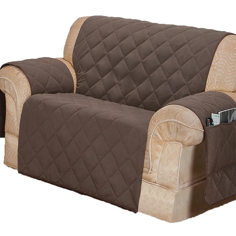 Protetor Para Sofá De 02 Lugares Com Assento De 1,00M Microfibra Matelado - Tabaco