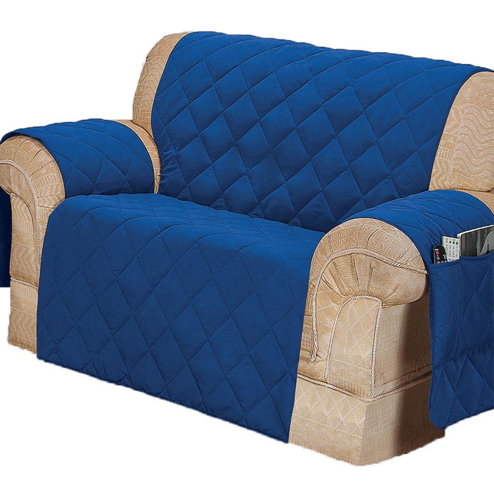 Protetor Para Sofá De 02 Lugares Com Assento De 1,40M Microfibra Matelado - Azul