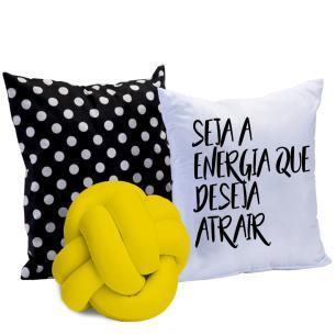 Almofada Nó Escandinavo + 02 Almofadas Microfibra 45cm x 45cm Coleção Energia - Amarelo