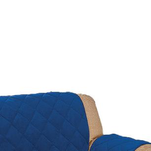 Protetor De Sofá Microfibra Matelado Retrátil Reclinável Com Assento De 2,20M - Azul
