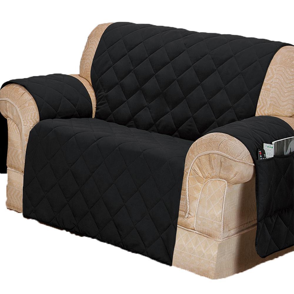 Protetor Para Sofá De 02 Lugares Com Assento De 90CM Microfibra Matelado - Preto