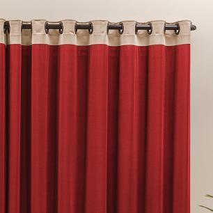 Cortina Com Ilhós Em Tecido Malha Gel Beatriz 2,00M x 1,70M Para Varão Simples - Vermelho Com Avelã