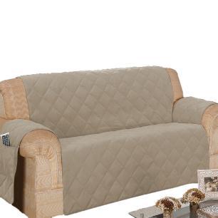 Protetor Para Sofá De 03 Lugares Com Assento De 1,50M Microfibra Matelado - Cáqui