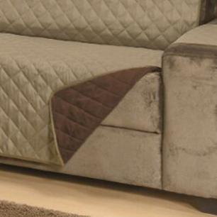 Protetor Para Sofá De 02 Lugares Com Assento de 1,10M Microfibra Dupla Face Manu - Cáqui com Tabaco
