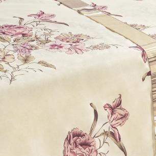 Jogo De Cama Ponto Palito Estampado Casal Padrão 4 Peças Tecido Misto Percal 180 Fios Requinte - Floral Palha