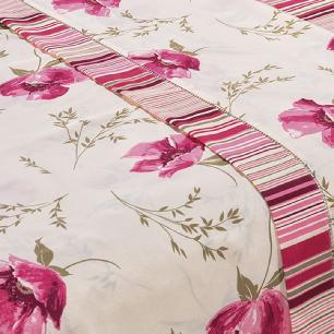 Jogo De Cama Ponto Palito Estampado Casal King 4 Peças Tecido Misto Percal 180 Fios Requinte - Floral Rosê
